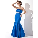 Mermaid Strapless Floor-Length Satin Bridesmaid Dress With Sash (007014264)
