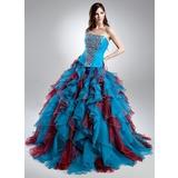 Duchesse-Linie Herzausschnitt Sweep/Pinsel zug Organza Quinceañera Kleid (Kleid für die Geburtstagsfeier) mit Perlen verziert Gestufte Rüschen