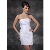 Sheath Strapless Short/Mini Taffeta Cocktail Dress With Ruffle (016020772)