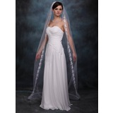 One-tier Chapel Bridal Veils With Lace Applique Edge (006002241)
