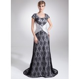 Sheath Scoop Neck Court Train Charmeuse Lace Mother of the Bride Dress With Lace Beading (008006527)