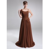 A-Line/Princess Scoop Neck Chapel Train Chiffon  Charmeuse Oscar Style Dresses With Ruffle (028005025)