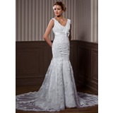 A-Line/Princess V-neck Chapel Train Organza Satin Wedding Dress With Lace Beadwork (002004537)