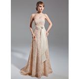 A-Linie/Princess-Linie Trägerlos Sweep/Pinsel zug Lace Kleid für die Brautmutter mit Schleifenbänder/Stoffgürtel Kristalle Blumen Brosche