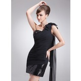 Sheath/Column One-Shoulder Short/Mini Chiffon Sequined Cocktail Dress With Ruffle Bow(s)