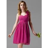 Empire One-Shoulder Knee-Length Chiffon Bridesmaid Dress With Ruffle Flower(s)