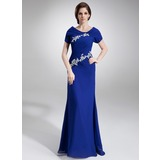 A-Line/Princess Scoop Neck Floor-Length Chiffon Mother of the Bride Dress With Ruffle Appliques Sequins (008005676)