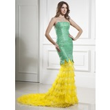 Mermaid Strapless Court Train Organza Satin Prom Dress With Lace (018015436)