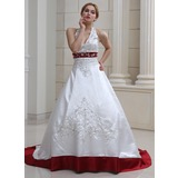 Forme Marquise Dos nu Traîne moyenne Satiné Robe de mariée avec Broderie Emperler Sequins