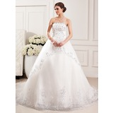 Ball-Gown Strapless Cathedral Train Tulle Wedding Dress With Lace Beading Flower(s) Sequins