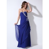 A-Line/Princess Sweetheart Floor-Length Chiffon Evening Dress With Ruffle Beading Sequins (017020712)