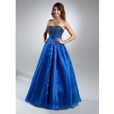 A-Linie/Princess-Linie Herzausschnitt Bodenlang Organza Quinceañera Kleid (Kleid für die Geburtstagsfeier) mit Rüschen Perlen verziert