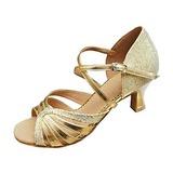 De mujer Cuero Brillo Chispeante Tacones Sandalias Danza latina Sala de Baile Zapatos de danza