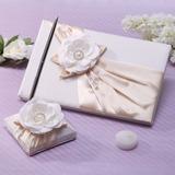 Elegant Faux-Perlen/Blume Gästebuch & Schreibset