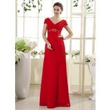 Empire-Linie V-Ausschnitt Bodenlang Chiffon Kleid für die Brautmutter mit Rüschen Kristalle Blumen Brosche
