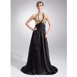 Empire Halter Court Train Charmeuse Sequined Mother of the Bride Dress With Beading (008005575)