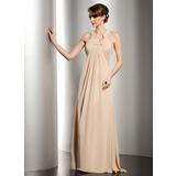 Empire-Linie U-Ausschnitt Bodenlang Chiffon Kleid für die Brautmutter mit Rüschen Perlen verziert