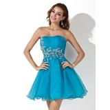 A-Line/Princess Sweetheart Short/Mini Organza Homecoming Dress With Ruffle Sequins (022020905)