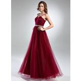 A-Line/Princess Scoop Neck Floor-Length Tulle Prom Dress With Lace Beading (018024404)