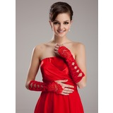 Elastic Satin Beadings Lace Elbow Gloves (014020466)