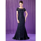 Mermaid Scoop Neck Sweep Train Charmeuse Lace Mother of the Bride Dress With Beading Sequins (008018690)