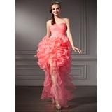A-Line/Princess Sweetheart Asymmetrical Organza Prom Dress With Beading Cascading Ruffles