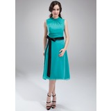 A-Line/Princess Scoop Neck Tea-Length Chiffon Charmeuse Maternity Bridesmaid Dress With Ruffle Sash (045004384)