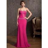 Sheath Sweetheart Sweep Train Chiffon Evening Dress With Ruffle Lace Beading (017014848)