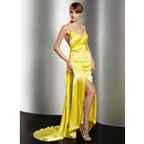 Sheath V-neck Watteau Train Charmeuse Evening Dress With Ruffle Beading Appliques Sequins (017014579)