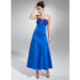 Empire V-neck Ankle-Length Chiffon Satin Bridesmaid Dress With Ruffle Beading (007015042)
