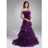 A-Line/Princess Strapless Sweep Train Organza Prom Dress With Ruffle (018020685)