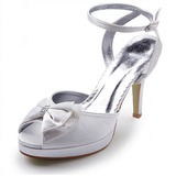 Satin Spool Heel Peep Toe Platform Pumps Sandals Wedding Shoes With Bowknot Buckle Rhinestone (047005117)
