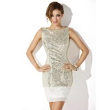Sheath/Column Scoop Neck Short/Mini Chiffon Sequined Cocktail Dress (016008346)