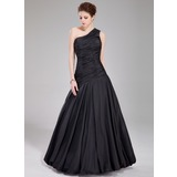Mermaid One-Shoulder Floor-Length Taffeta Prom Dress With Ruffle (018022534)