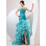 Mermaid Sweetheart Sweep Train Organza Prom Dress With Ruffle Beading (018014058)