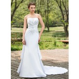 Mermaid Sweetheart Chapel Train Satin Wedding Dress With Ruffle Beadwork Sequins