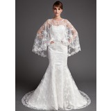 Mermaid Sweetheart Chapel Train Satin Tulle Wedding Dress With Lace (002004747)
