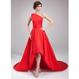 A-linje One-Shoulder Asymmetrisk Taft Aftenkjole med Flsekanter (017020673)