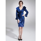 Sheath V-neck Tea-Length Taffeta Mother of the Bride Dress With Embroidered Ruffle (008006298)