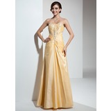 A-Line/Princess Sweetheart Floor-Length Taffeta Prom Dress With Ruffle Beading (018005090)