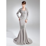 Mermaid Halter Court Train Chiffon Mother of the Bride Dress With Ruffle Beading Sequins (008005952)