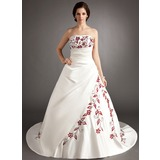 A-Line/Princess Strapless Chapel Train Satin Wedding Dress With Embroidered Ruffle Beading
