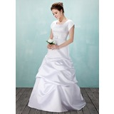 A-Line/Princess Square Neckline Floor-Length Satin Wedding Dress With Ruffle Crystal Brooch