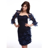 Sheath Sweetheart Knee-Length Chiffon Cocktail Dress With Ruffle Beading Flower(s) (016025376)