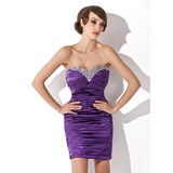 Sheath Sweetheart Short/Mini Charmeuse Cocktail Dress With Ruffle Beading Sequins (016020821)