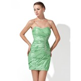 Sheath/Column Sweetheart Short/Mini Taffeta Cocktail Dress With Ruffle Beading