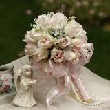 Delicate Round Satin Bridal Bouquets (124032097)