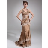 Mermaid Scoop Neck Court Train Charmeuse Mother of the Bride Dress With Ruffle Lace Beading (008016853)