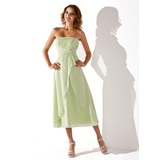 Empire Strapless Tea-Length Chiffon Bridesmaid Dress With Ruffle (007001923)