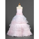 A-Line/Princess Floor-length Flower Girl Dress - Organza/Satin Sleeveless Straps With Ruffles/Sash/Flower(s)